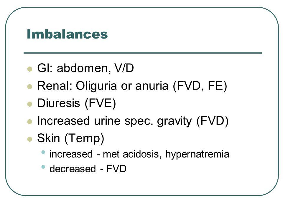 Imbalances GI: abdomen, V/D Renal: Oliguria or anuria (FVD, FE)