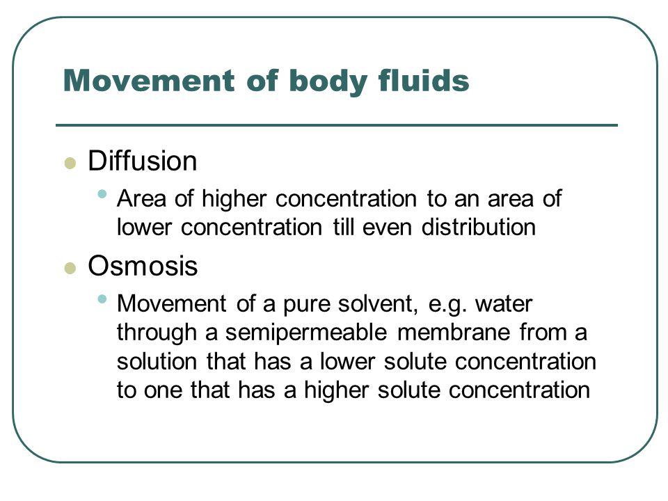 Movement of body fluids