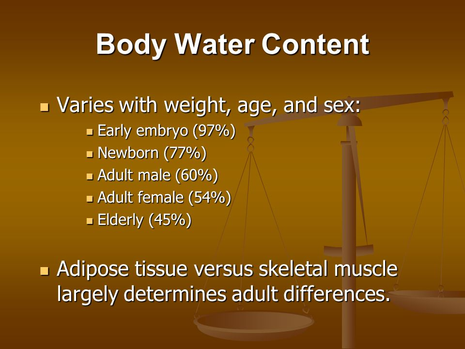 Body Water Content Varies with weight, age, and sex: