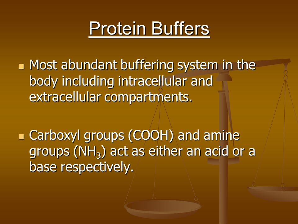Protein Buffers Most abundant buffering system in the body including intracellular and extracellular compartments.