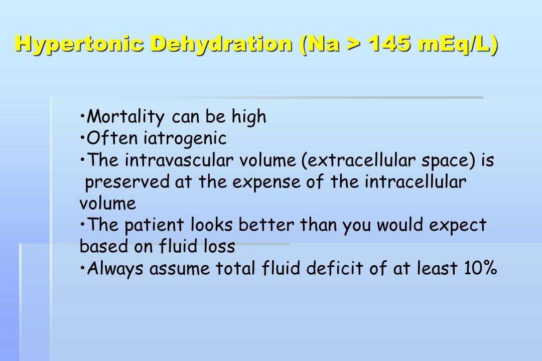 Hypertonic Dehydration (Na > 145 mEq/L)