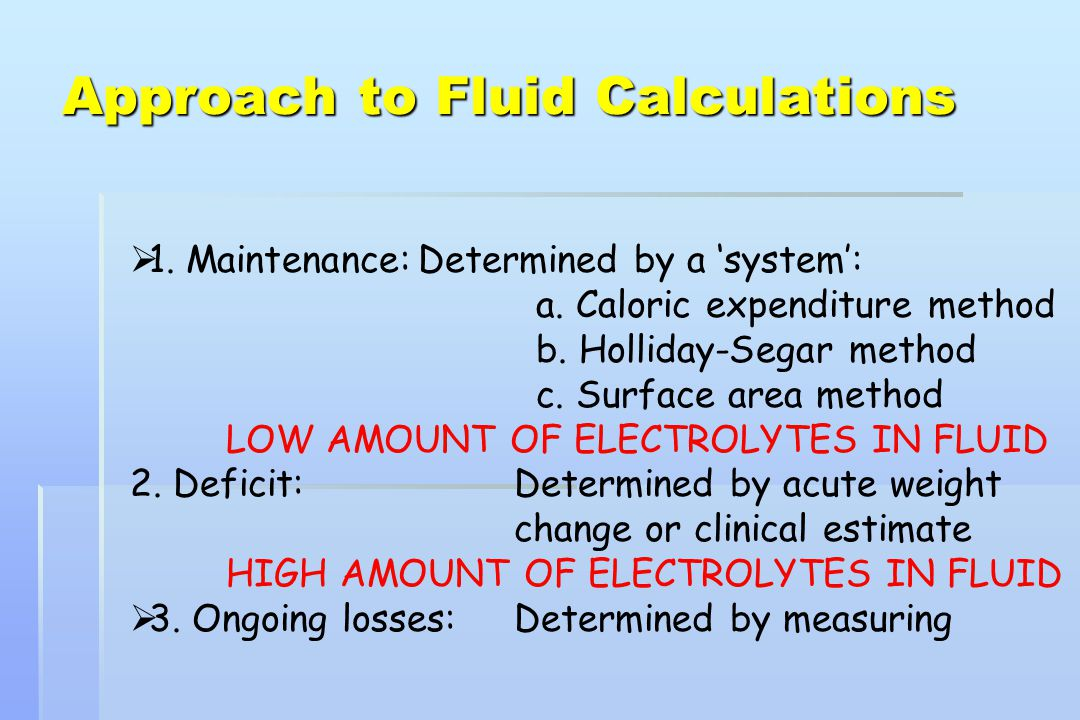 Approach to Fluid Calculations