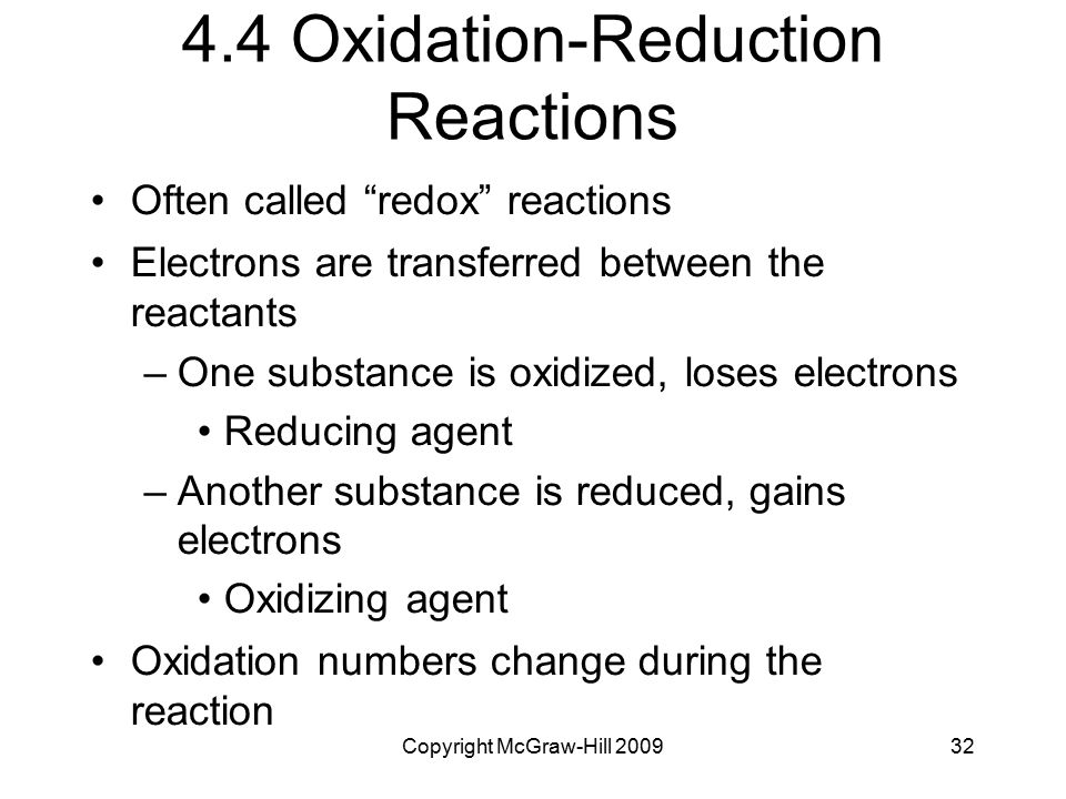 4.4 Oxidation-Reduction Reactions