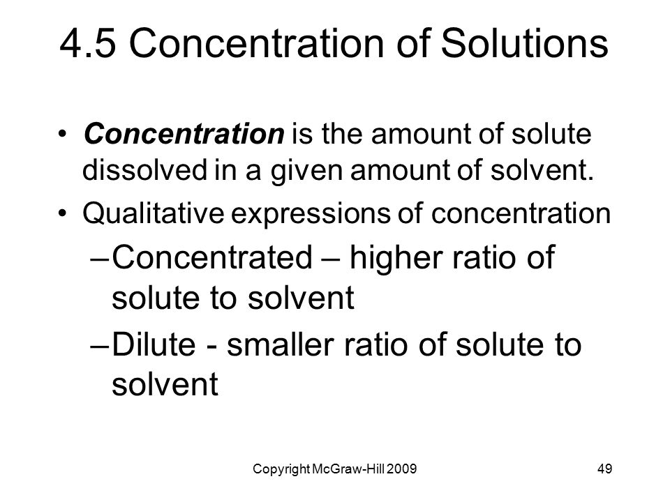 4.5 Concentration of Solutions