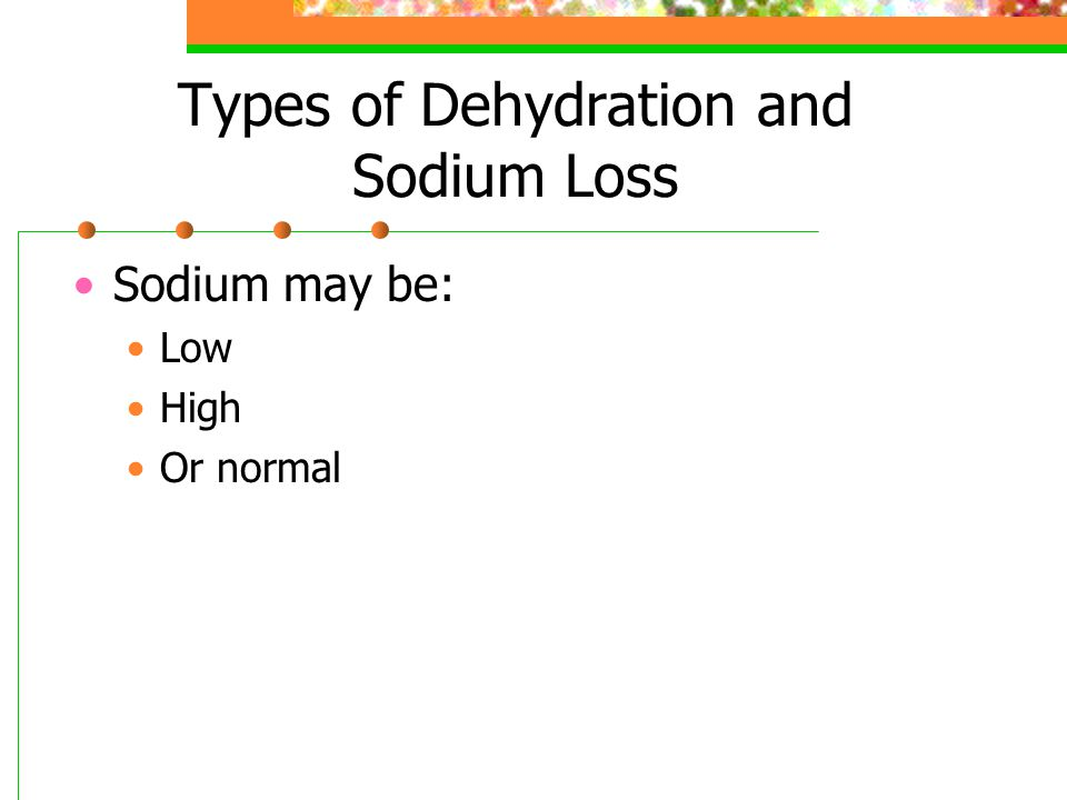 Types of Dehydration and Sodium Loss