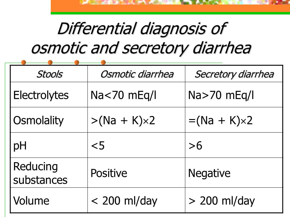 Differential diagnosis of osmotic and secretory diarrhea