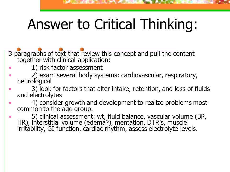 Answer to Critical Thinking: