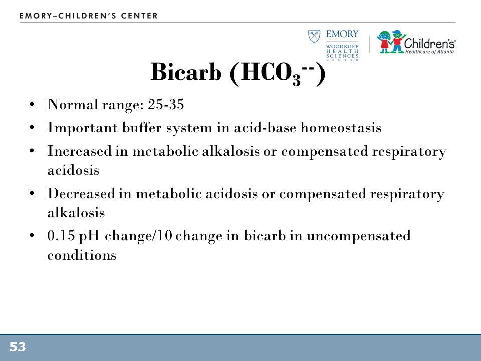 Bicarb (HCO3--) Normal range: 25-35