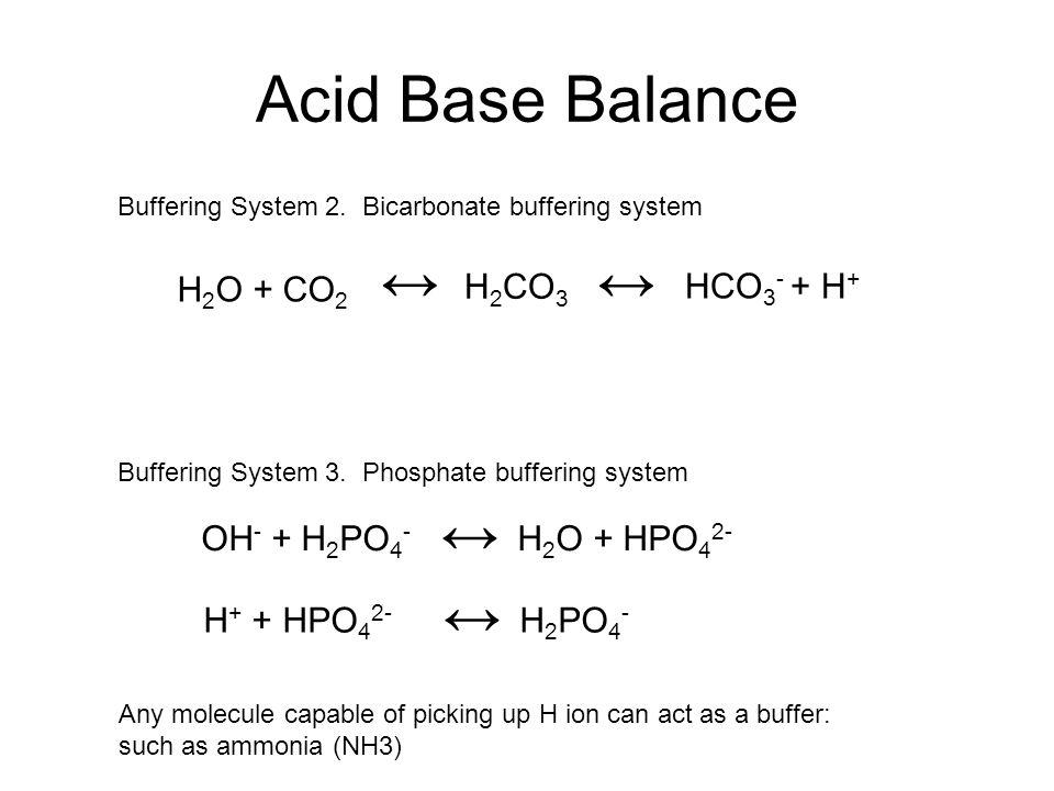 Acid Base Balance ↔ ↔ ↔ H2O + CO2 H2CO3 HCO3- + H+
