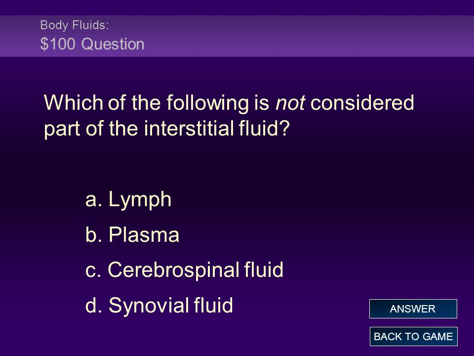 Body Fluids: $100 Question