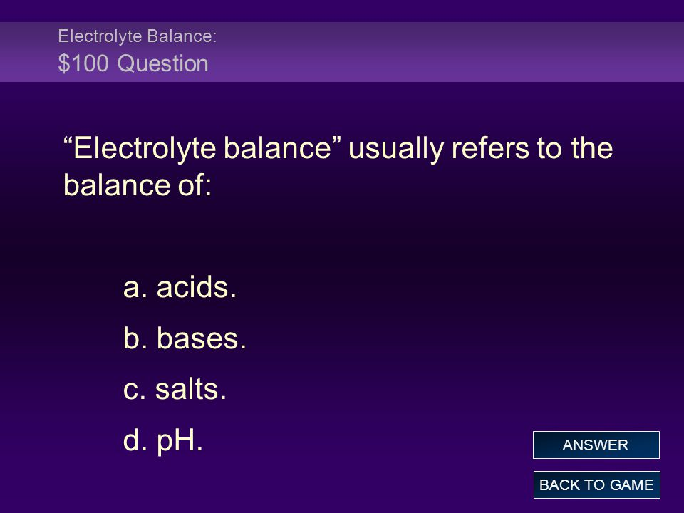 Electrolyte Balance: $100 Question