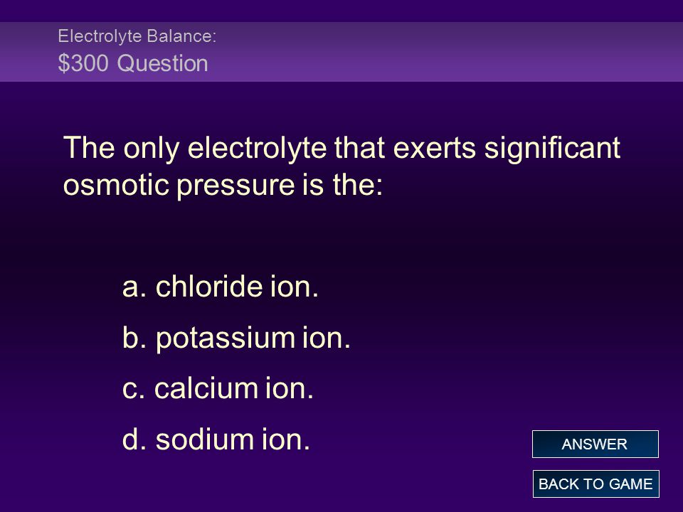 Electrolyte Balance: $300 Question