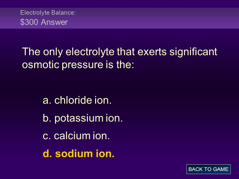 Electrolyte Balance: $300 Answer