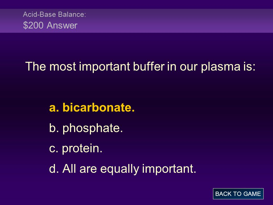 Acid-Base Balance: $200 Answer