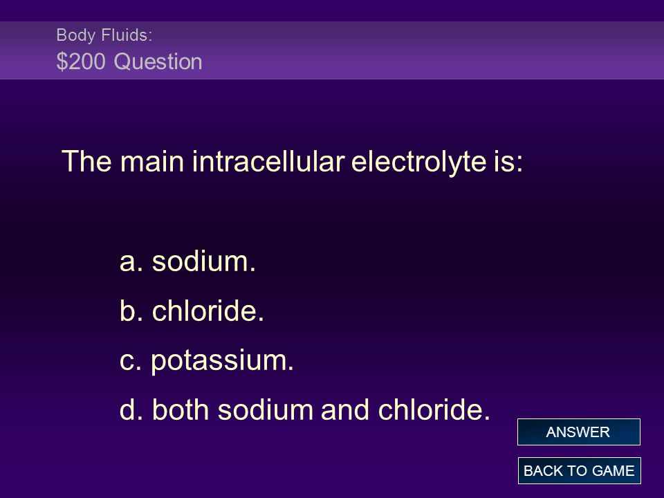 Body Fluids: $200 Question