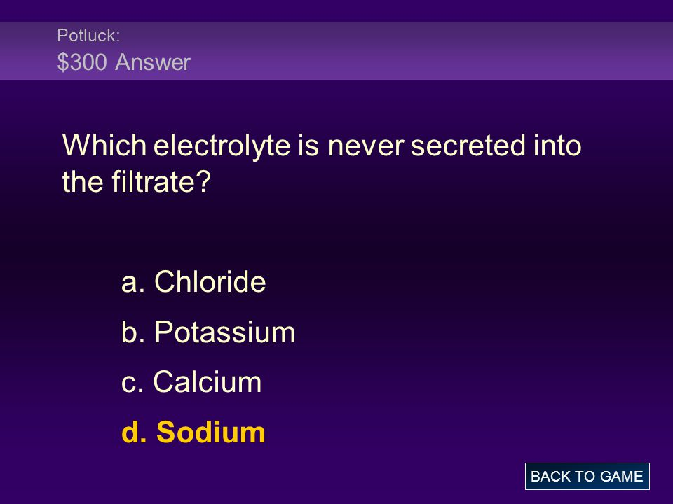 Which electrolyte is never secreted into the filtrate