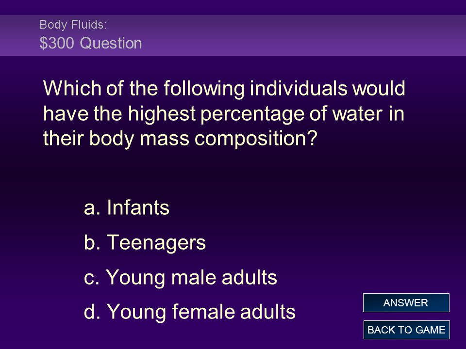 Body Fluids: $300 Question