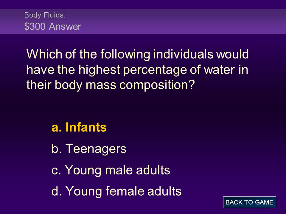 Body Fluids: $300 Answer Which of the following individuals would have the highest percentage of water in their body mass composition