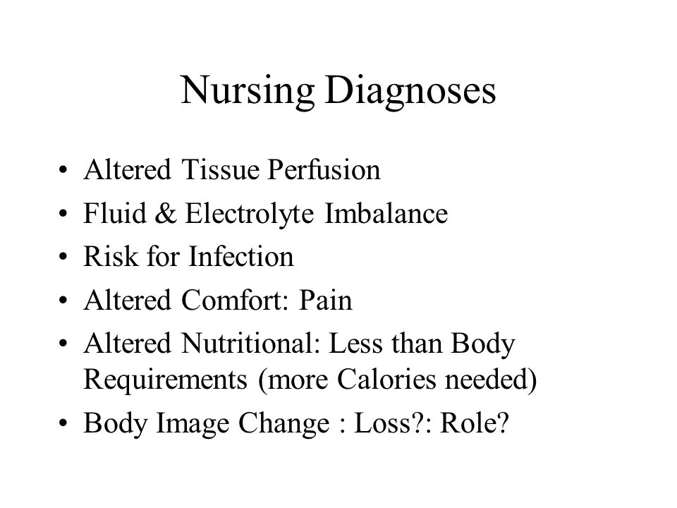 Nursing Diagnoses Altered Tissue Perfusion