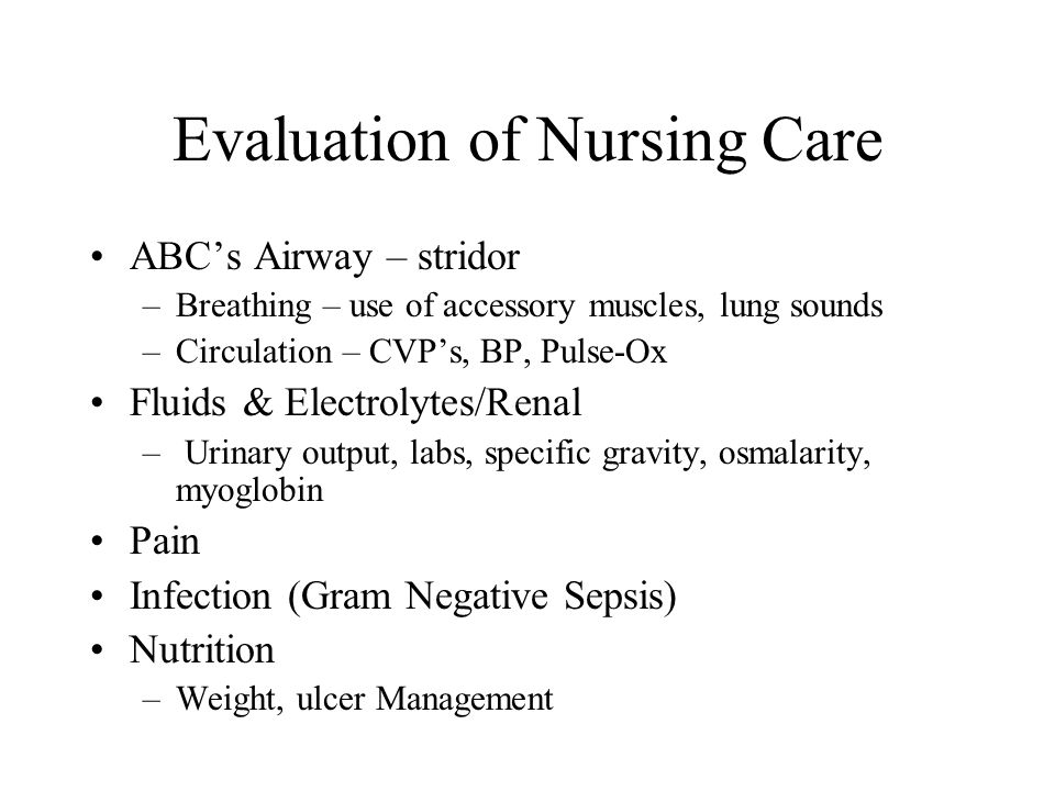 Evaluation of Nursing Care