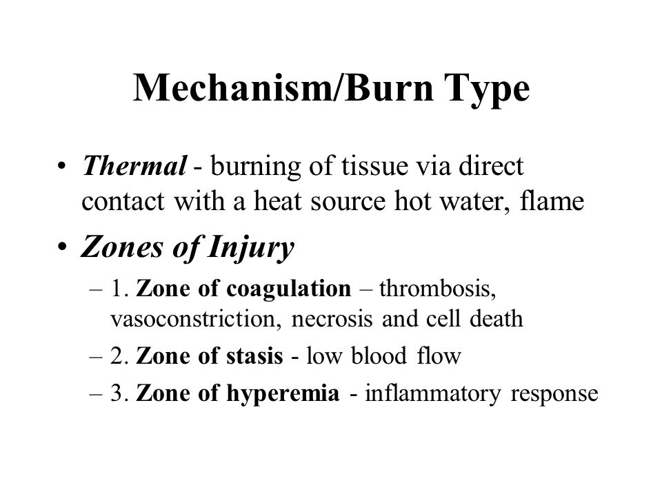 Mechanism/Burn Type Zones of Injury