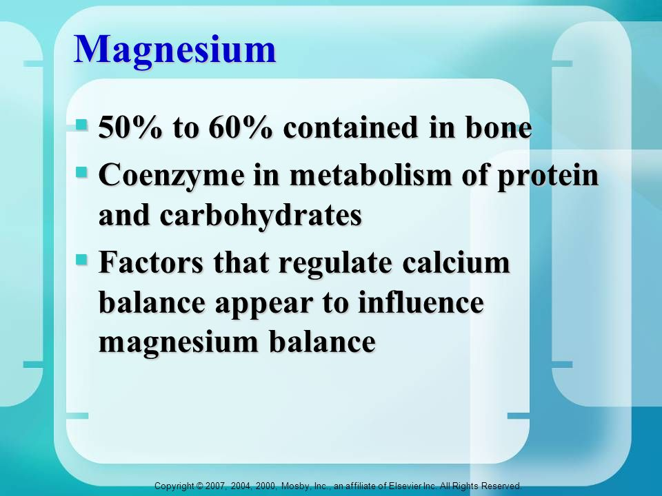 Magnesium 50% to 60% contained in bone