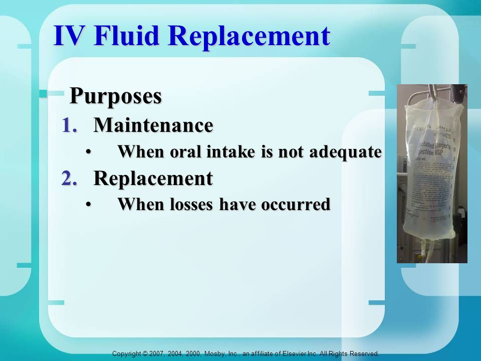 IV Fluid Replacement Purposes Maintenance Replacement