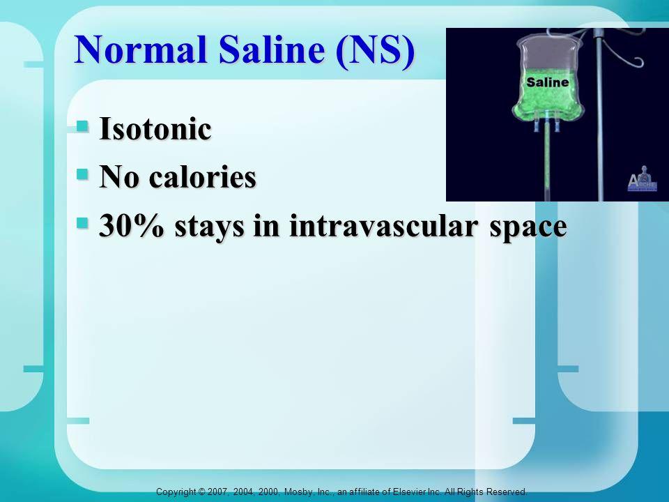Normal Saline (NS) Isotonic No calories