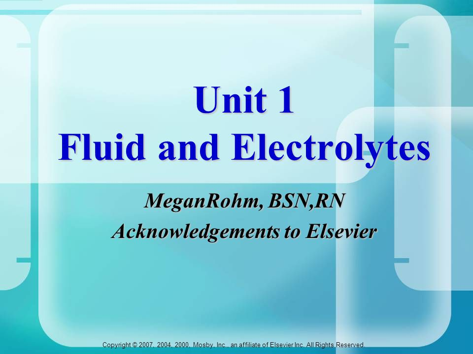 Unit 1 Fluid and Electrolytes