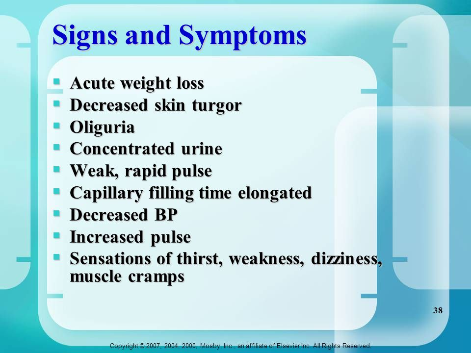 Signs and Symptoms Acute weight loss Decreased skin turgor Oliguria