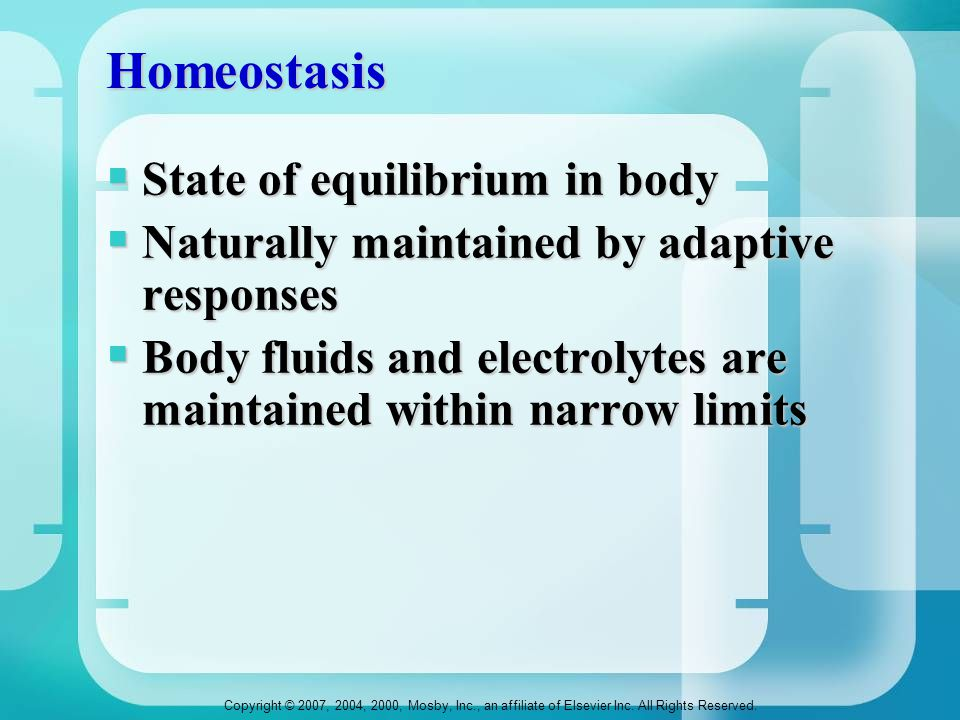Homeostasis State of equilibrium in body