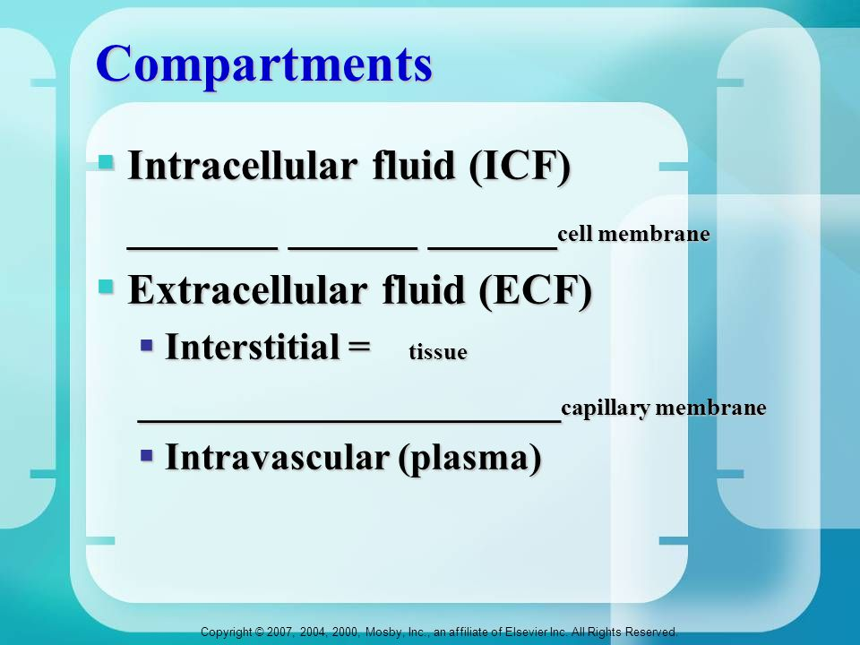 Compartments Intracellular fluid (ICF)