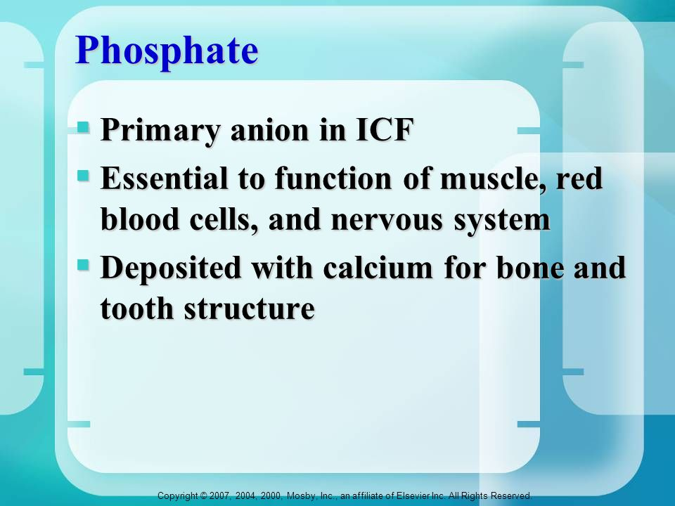 Phosphate Primary anion in ICF