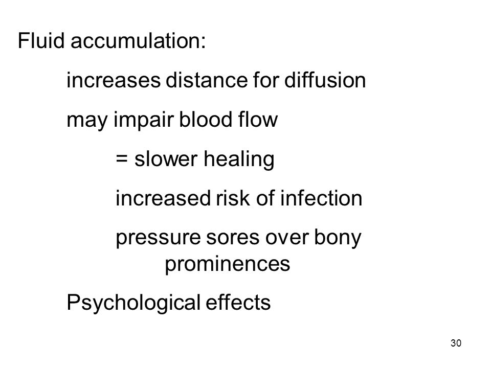 Fluid accumulation: increases distance for diffusion. may impair blood flow. = slower healing. increased risk of infection.