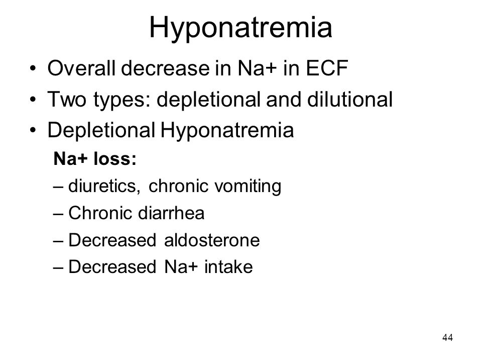 Hyponatremia Overall decrease in Na+ in ECF