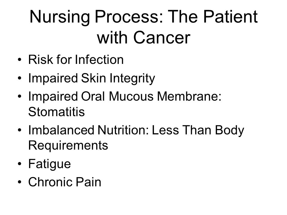 Nursing Process: The Patient with Cancer