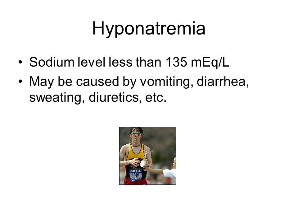 Hyponatremia Sodium level less than 135 mEq/L