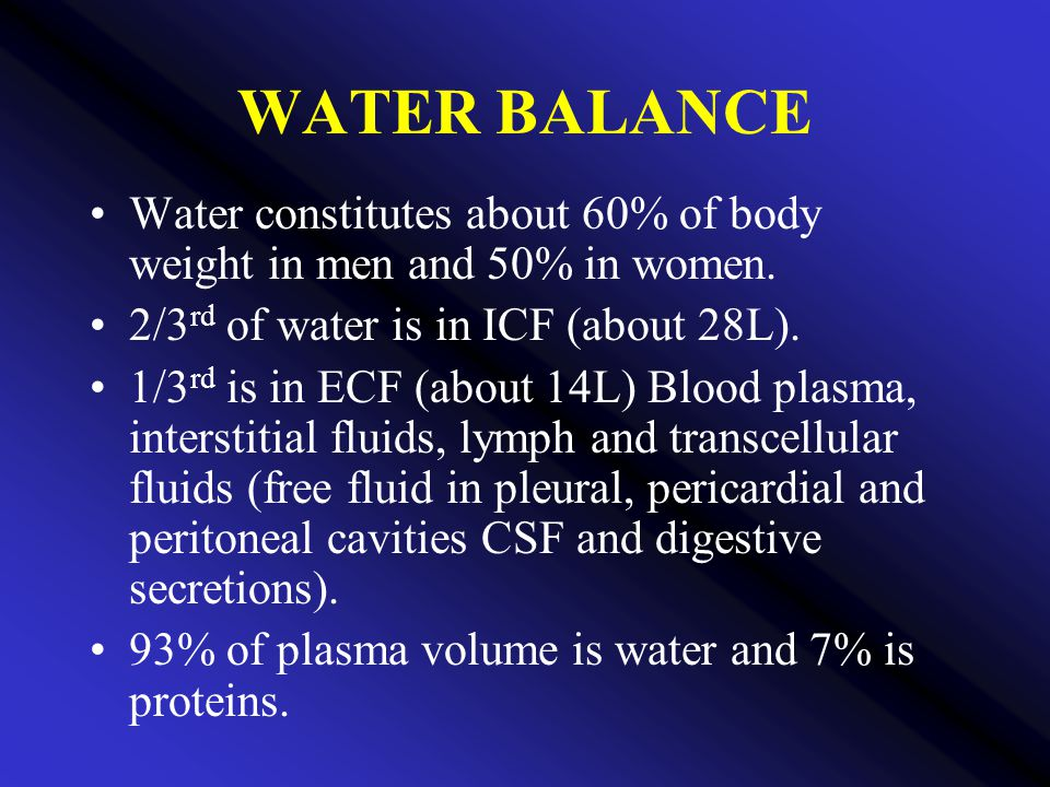 WATER BALANCE Water constitutes about 60% of body weight in men and 50% in women. 2/3rd of water is in ICF (about 28L).