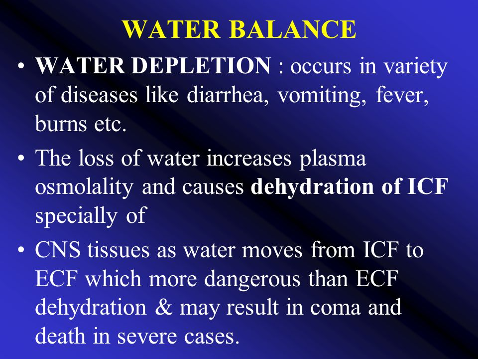 WATER BALANCE WATER DEPLETION : occurs in variety of diseases like diarrhea, vomiting, fever, burns etc.