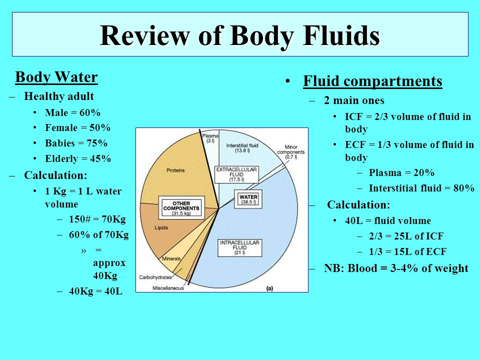 Review of Body Fluids Fluid compartments Body Water Healthy adult