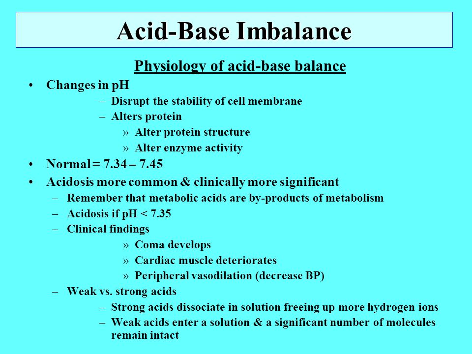 Physiology of acid-base balance
