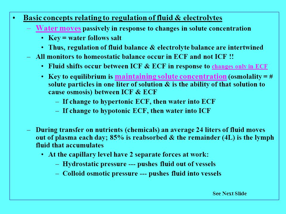 Basic concepts relating to regulation of fluid & electrolytes