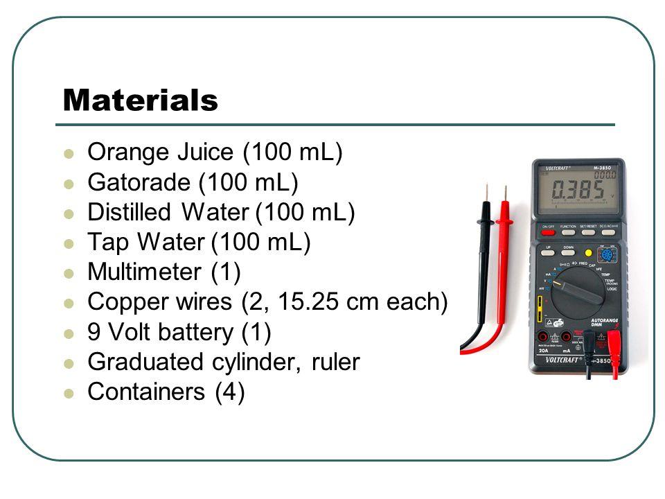 Materials Orange Juice (100 mL) Gatorade (100 mL)