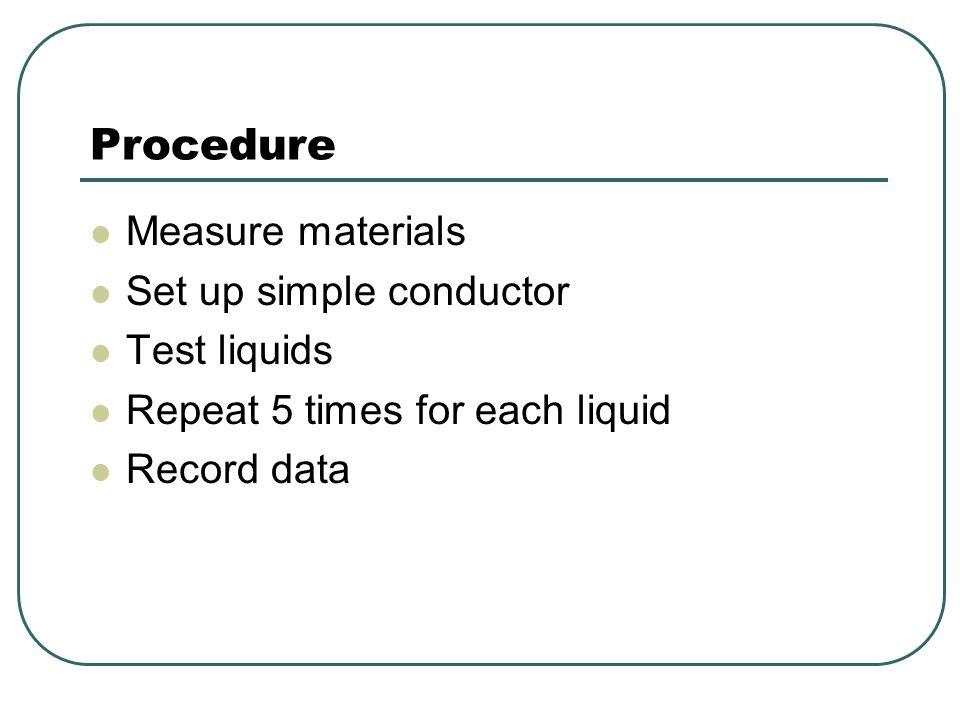 Procedure Measure materials Set up simple conductor Test liquids