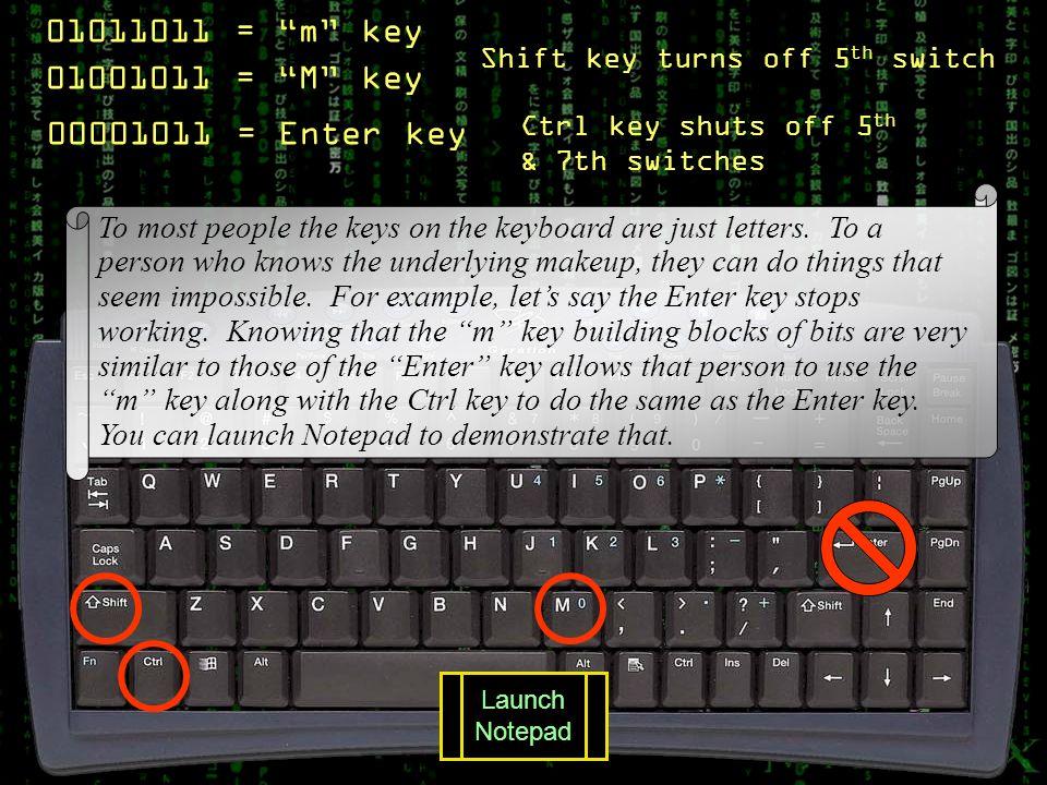 01011011 = m key 01001011 = M key 00001011 = Enter key