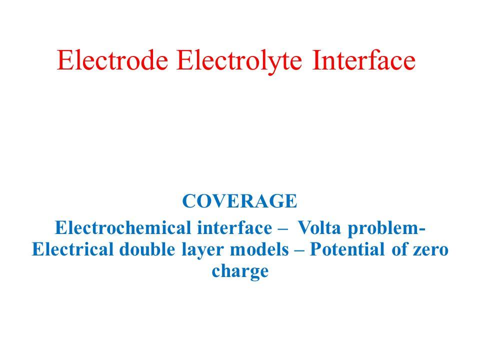 Electrode Electrolyte Interface