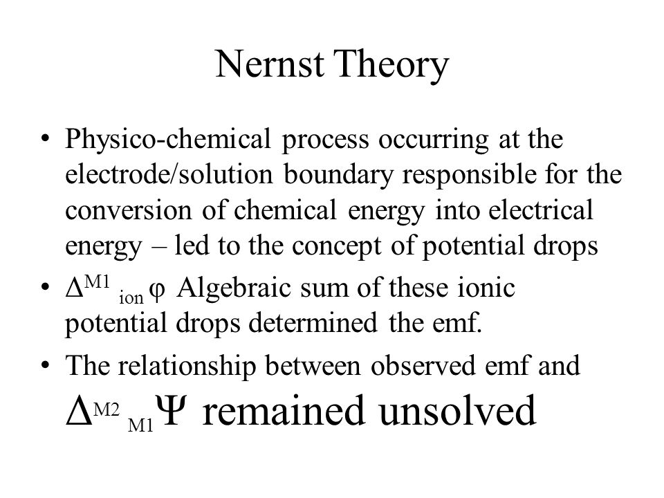 Nernst Theory