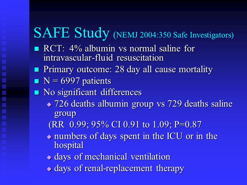 SAFE Study (NEMJ 2004:350 Safe Investigators)