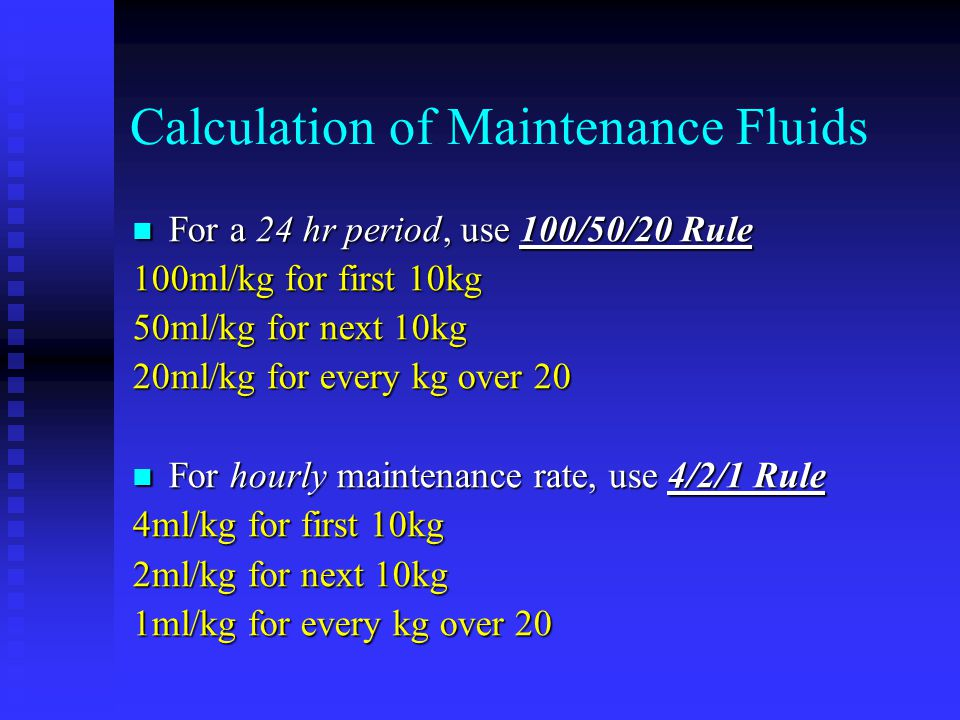 Calculation of Maintenance Fluids