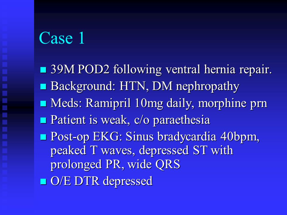 Case 1 39M POD2 following ventral hernia repair.